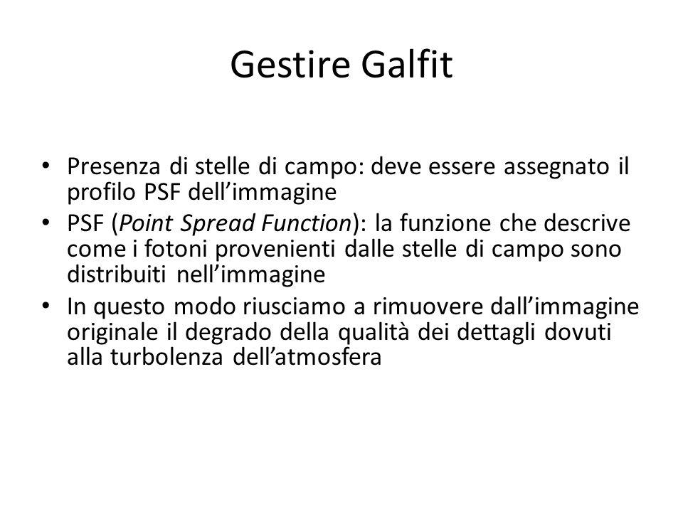 Gestire Galfit Presenza di stelle di campo: deve essere assegnato il profilo PSF dellimmagine PSF (Point Spread Function): la funzione che descrive co