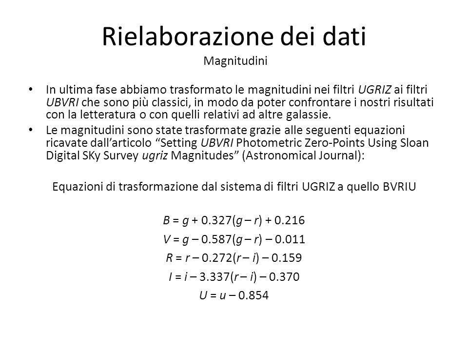 Rielaborazione dei dati Magnitudini In ultima fase abbiamo trasformato le magnitudini nei filtri UGRIZ ai filtri UBVRI che sono più classici, in modo