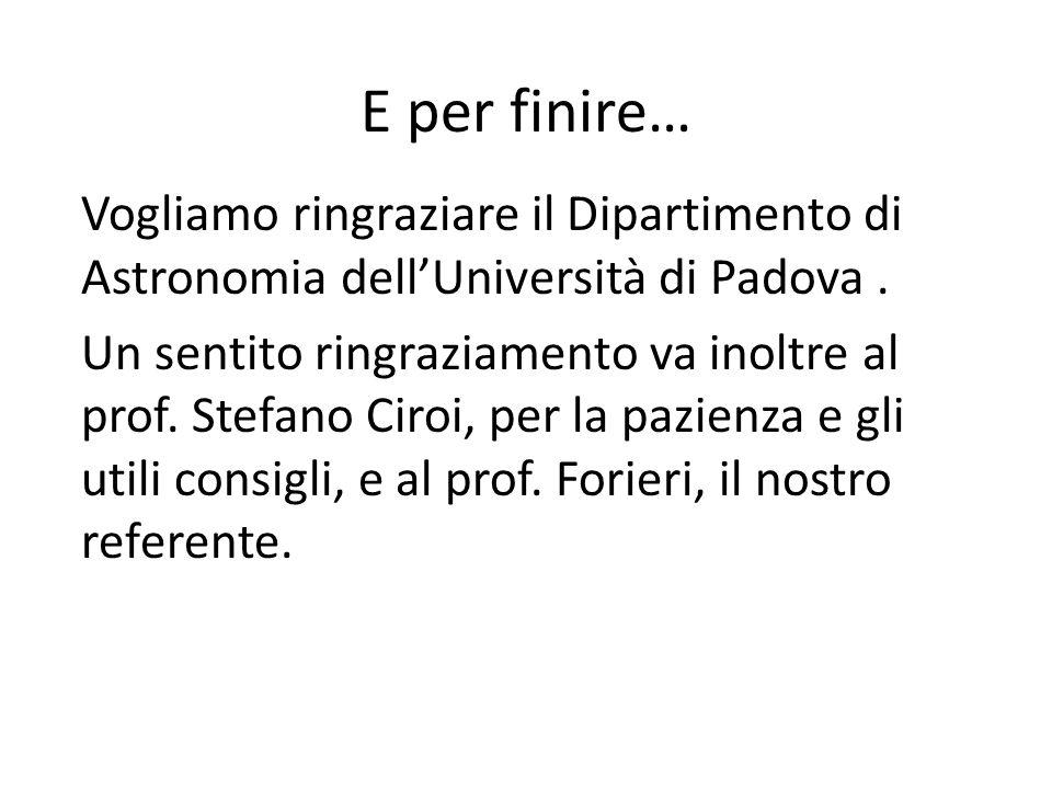 E per finire… Vogliamo ringraziare il Dipartimento di Astronomia dellUniversità di Padova. Un sentito ringraziamento va inoltre al prof. Stefano Ciroi