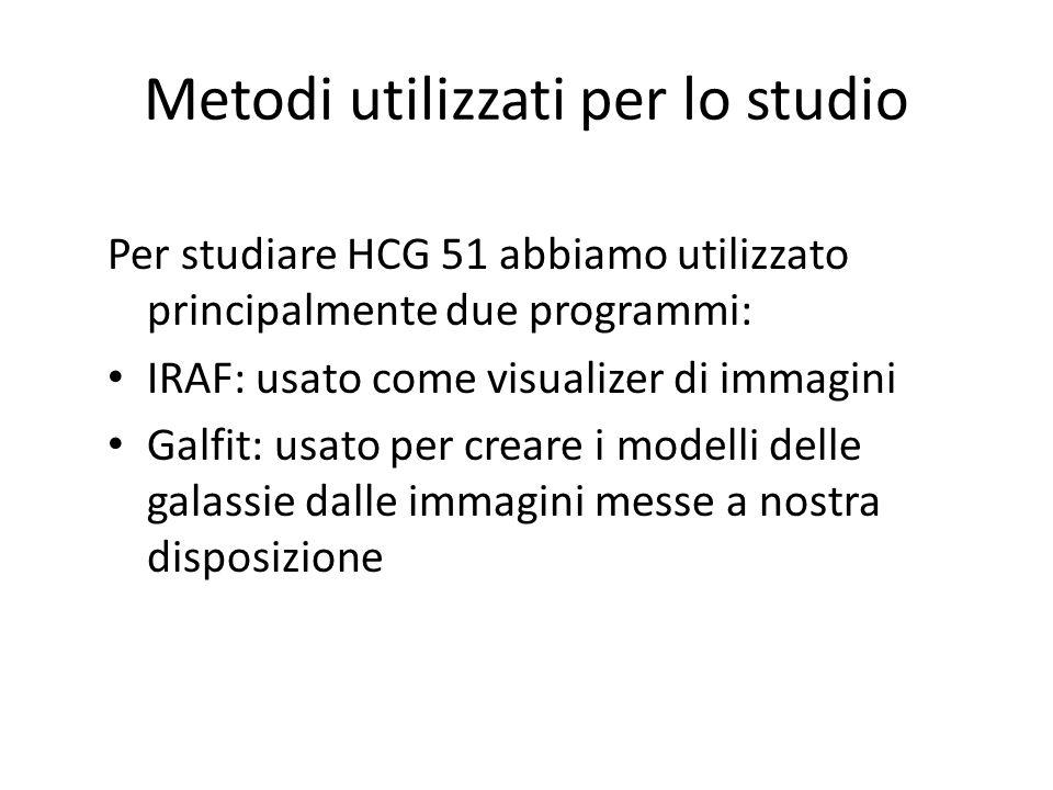 Metodi utilizzati per lo studio Per studiare HCG 51 abbiamo utilizzato principalmente due programmi: IRAF: usato come visualizer di immagini Galfit: u