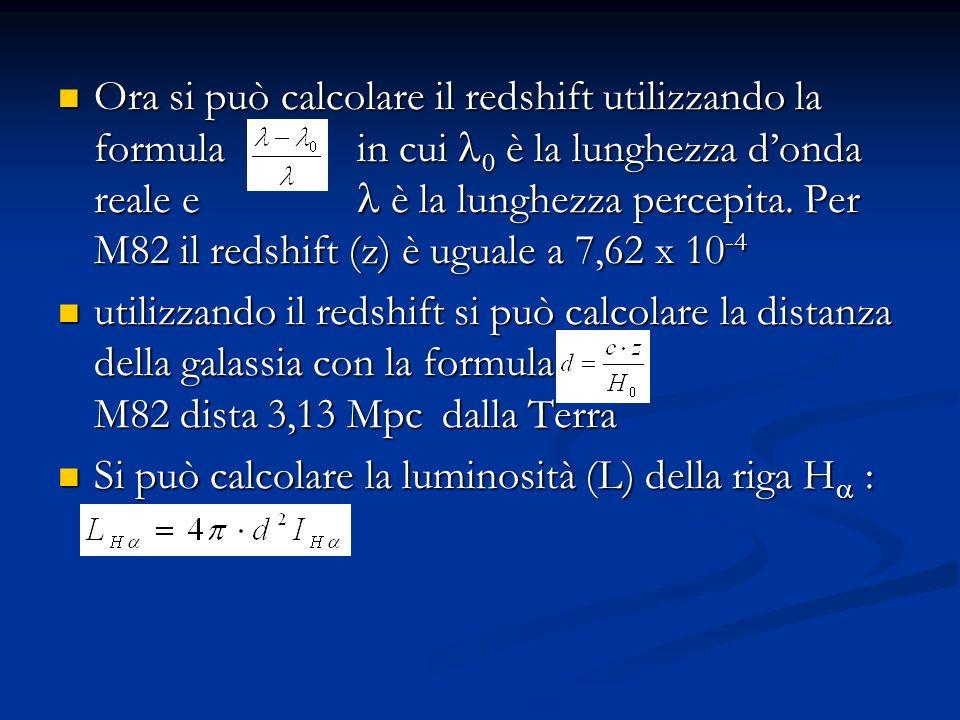Ora si può calcolare il redshift utilizzando la formula in cui 0 è la lunghezza donda reale e è la lunghezza percepita.