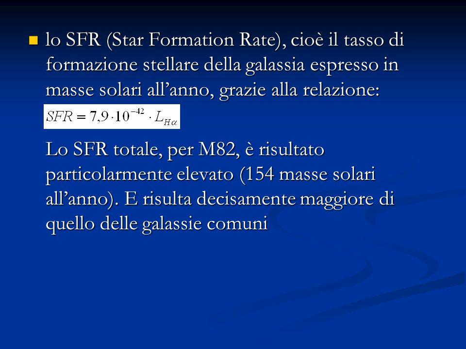 lo SFR (Star Formation Rate), cioè il tasso di formazione stellare della galassia espresso in masse solari allanno, grazie alla relazione: lo SFR (Star Formation Rate), cioè il tasso di formazione stellare della galassia espresso in masse solari allanno, grazie alla relazione: Lo SFR totale, per M82, è risultato particolarmente elevato (154 masse solari allanno).