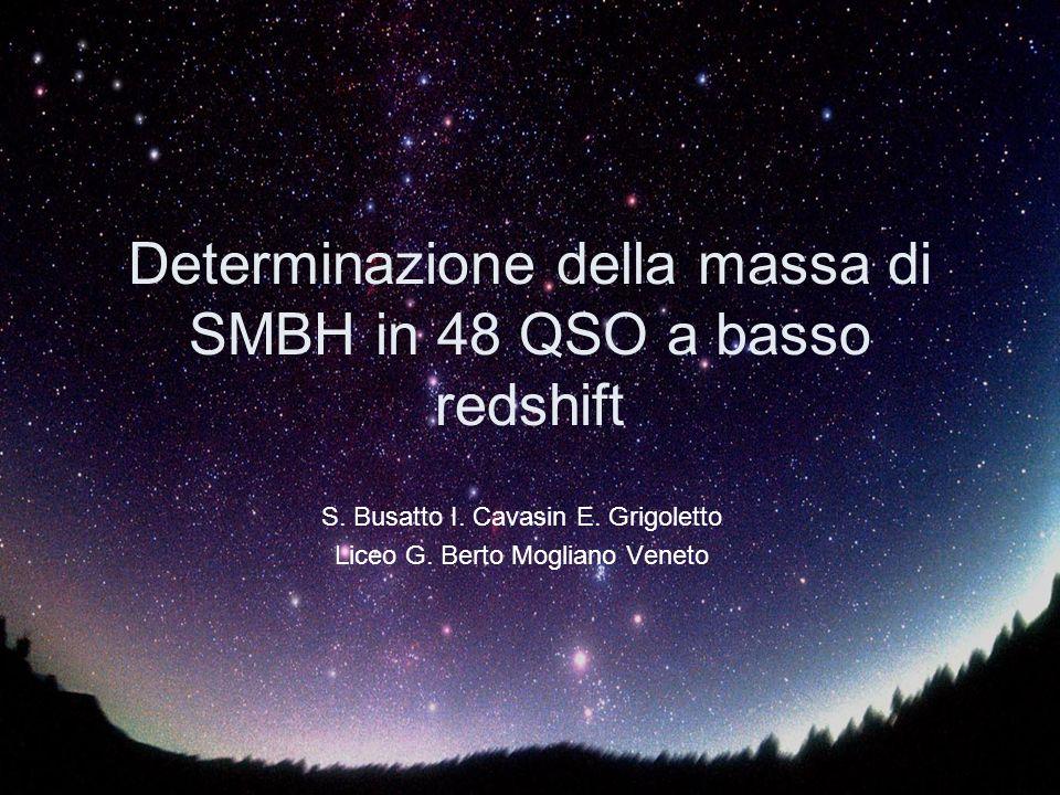 Determinazione della massa di SMBH in 48 QSO a basso redshift S.