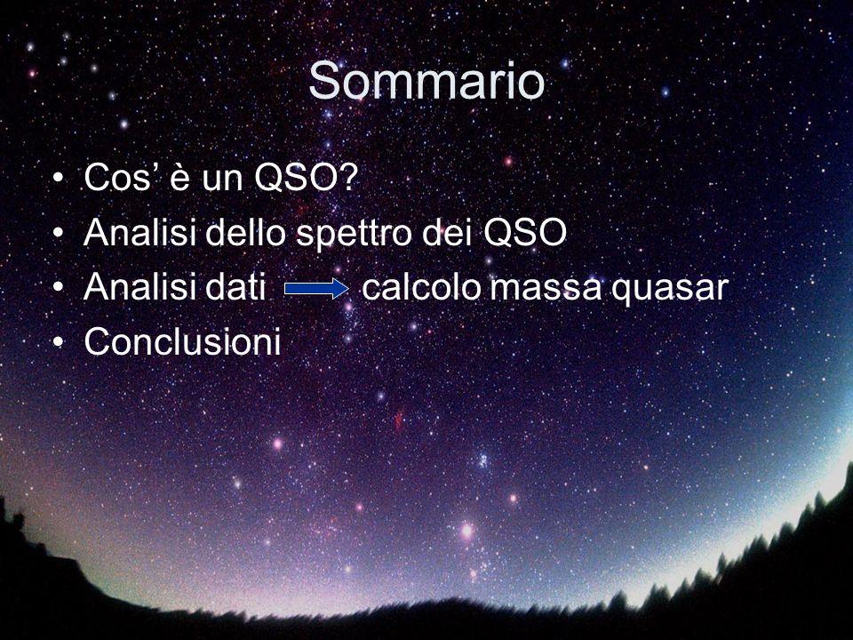Sommario Cos è un QSO? Analisi dello spettro dei QSO Analisi dati calcolo massa quasar Conclusioni