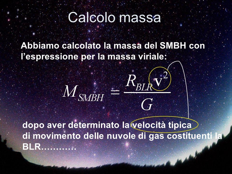 Calcolo massa Abbiamo calcolato la massa del SMBH con lespressione per la massa viriale: dopo aver determinato la velocità tipica di movimento delle nuvole di gas costituenti la BLR…………