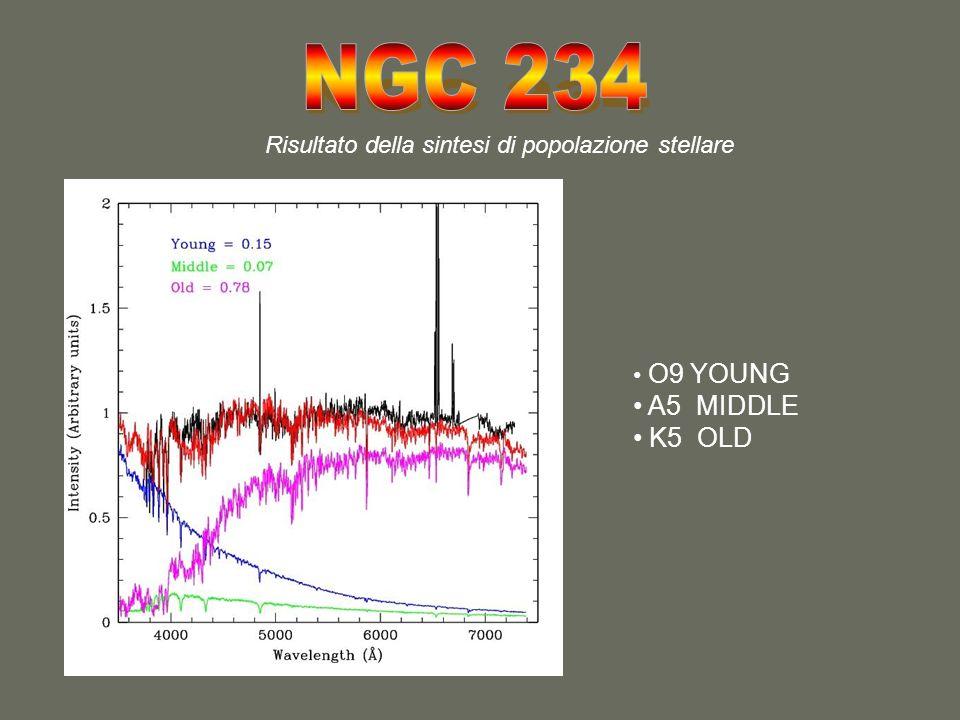 Risultato della sintesi di popolazione stellare O9 YOUNG A5 MIDDLE K5 OLD
