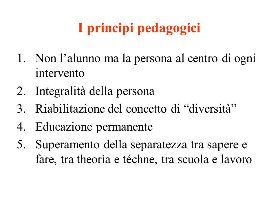 I principi pedagogici 1.Non lalunno ma la persona al centro di ogni intervento 2.Integralità della persona 3.Riabilitazione del concetto di diversità