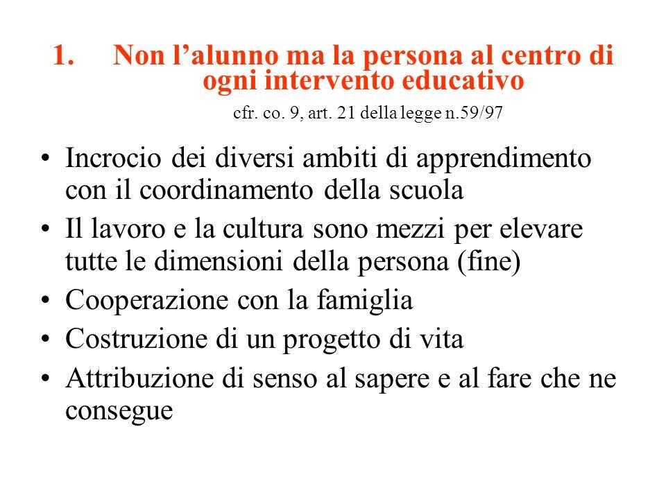 1.Non lalunno ma la persona al centro di ogni intervento educativo cfr. co. 9, art. 21 della legge n.59/97 Incrocio dei diversi ambiti di apprendiment