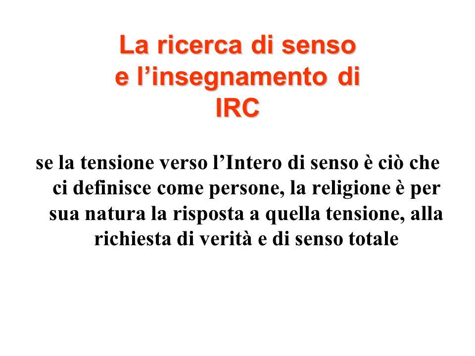 La ricerca di senso e linsegnamento di IRC se la tensione verso lIntero di senso è ciò che ci definisce come persone, la religione è per sua natura la