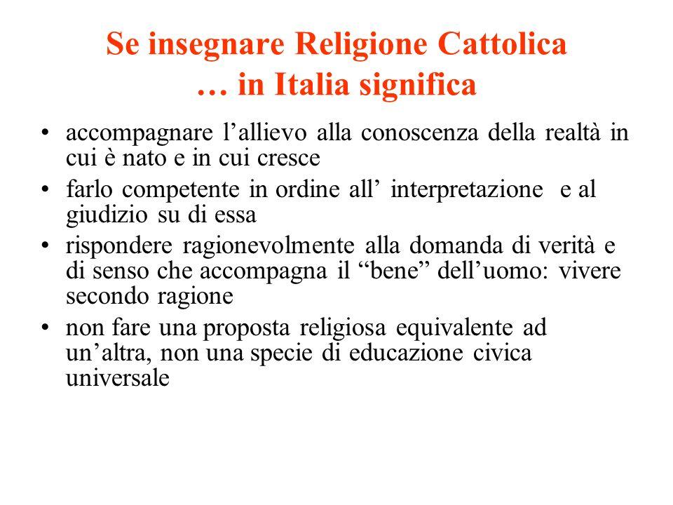 Se insegnare Religione Cattolica … in Italia significa accompagnare lallievo alla conoscenza della realtà in cui è nato e in cui cresce farlo competen