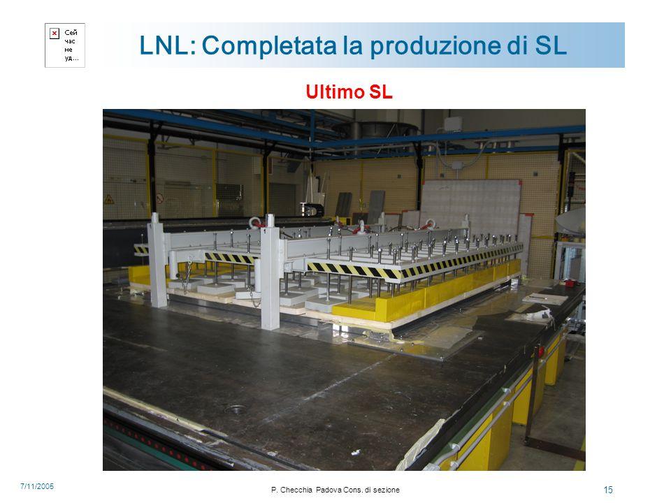 7/11/2005 P. Checchia Padova Cons. di sezione 15 LNL: Completata la produzione di SL Ultimo SL