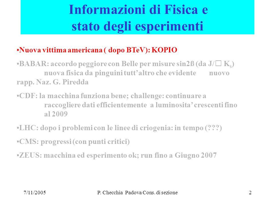 7/11/2005P. Checchia Padova Cons. di sezione23 2006 CMS : assegnazioni