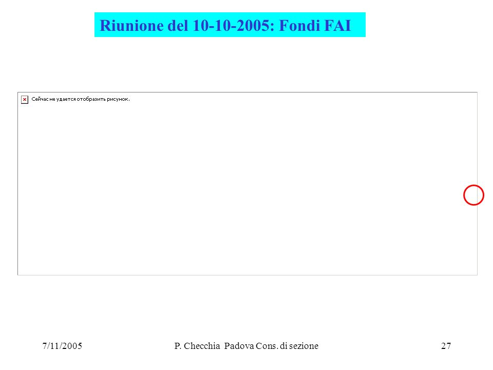 7/11/2005P. Checchia Padova Cons. di sezione27 Riunione del 10-10-2005: Fondi FAI