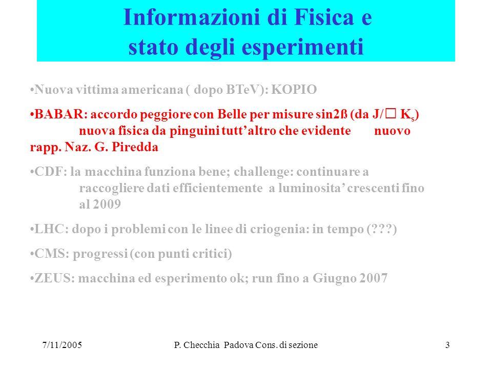 7/11/2005P. Checchia Padova Cons. di sezione24 CMS Si: assegnazioni 2006