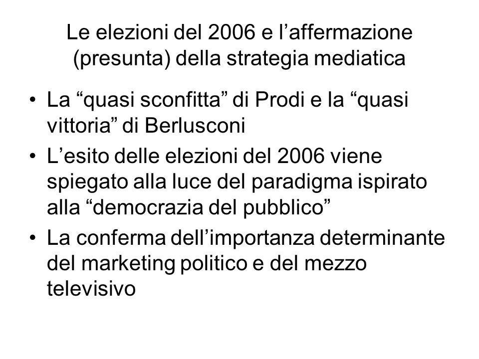 Le elezioni del 2006 e laffermazione (presunta) della strategia mediatica La quasi sconfitta di Prodi e la quasi vittoria di Berlusconi Lesito delle elezioni del 2006 viene spiegato alla luce del paradigma ispirato alla democrazia del pubblico La conferma dellimportanza determinante del marketing politico e del mezzo televisivo