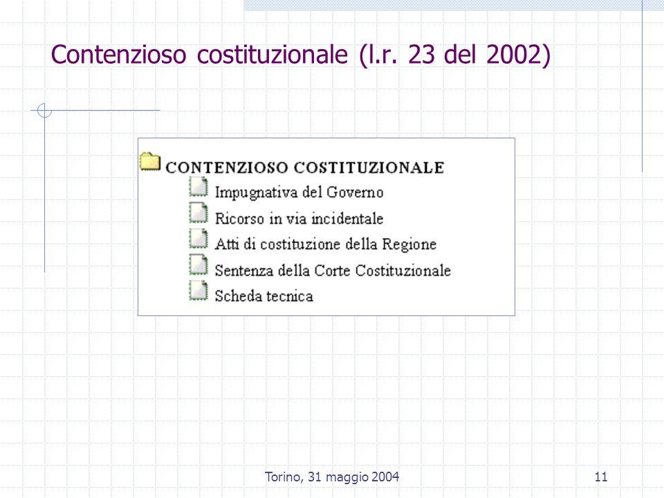 Torino, 31 maggio 200411 Contenzioso costituzionale (l.r. 23 del 2002)