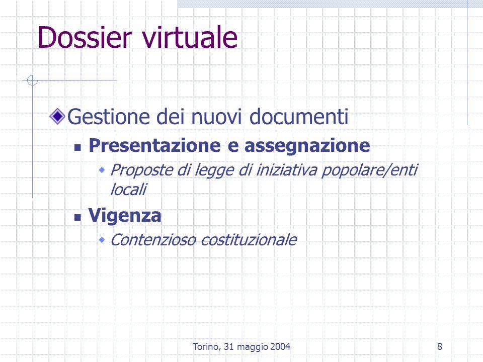 Torino, 31 maggio 20048 Dossier virtuale Gestione dei nuovi documenti Presentazione e assegnazione Proposte di legge di iniziativa popolare/enti locali Vigenza Contenzioso costituzionale