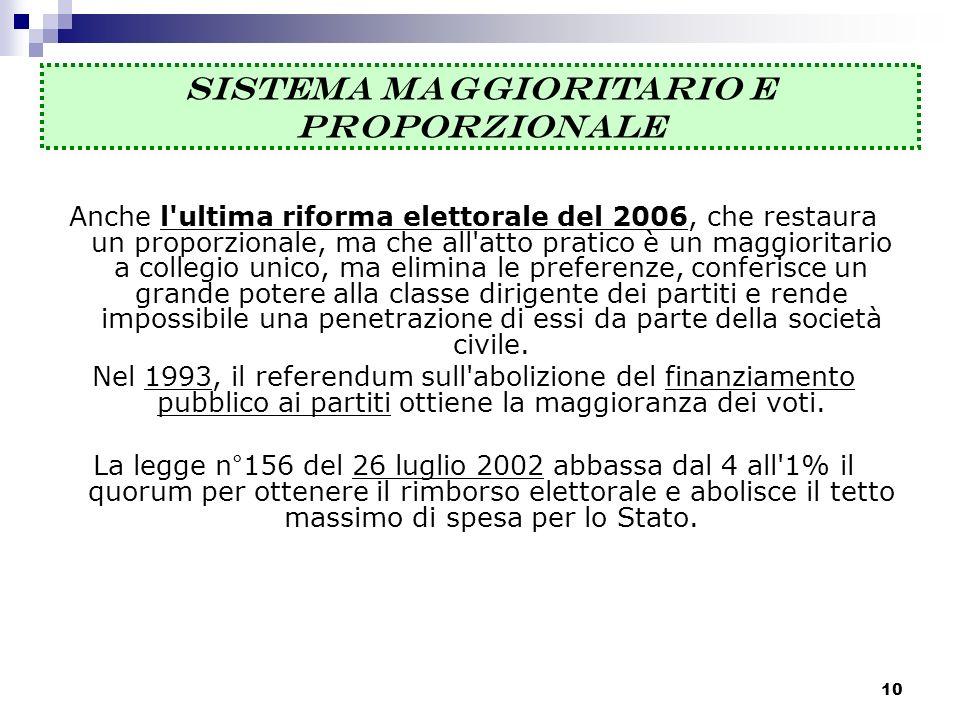 Anche l'ultima riforma elettorale del 2006, che restaura un proporzionale, ma che all'atto pratico è un maggioritario a collegio unico, ma elimina le