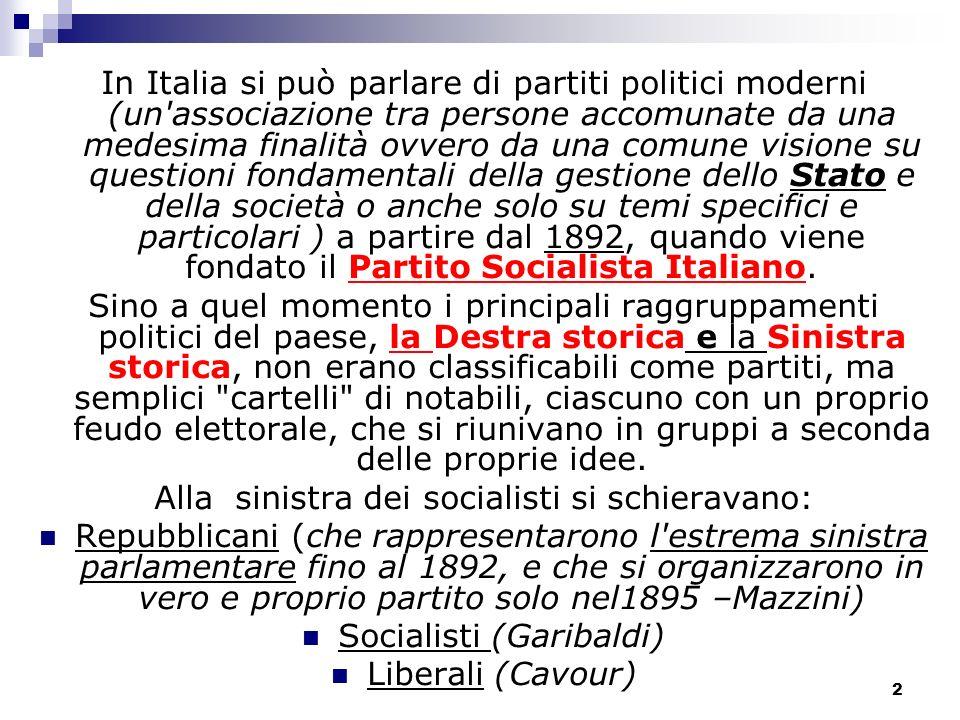 3 Questi tre gruppi politici, i liberali, i repubblicani ed i socialisti, si sono sempre considerati gli eredi diretti delle correnti che avevano dato vita al Risorgimento.
