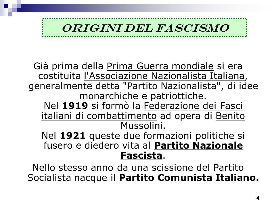 4 ORIGINI DEL FASCISMO Già prima della Prima Guerra mondiale si era costituita l'Associazione Nazionalista Italiana, generalmente detta