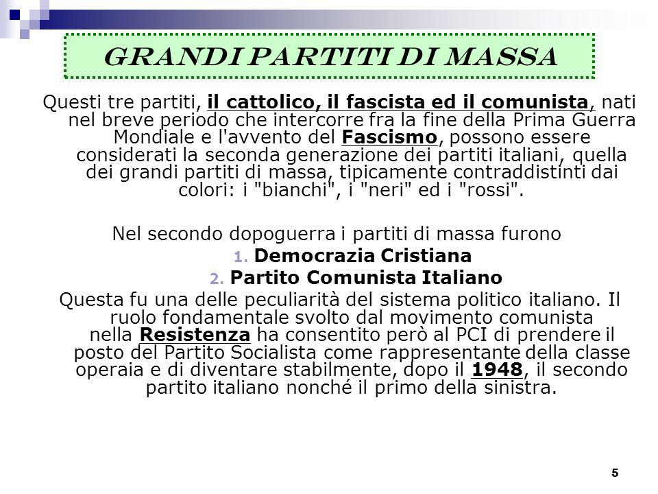 5 GRANDI PARTITI DI MASSA Questi tre partiti, il cattolico, il fascista ed il comunista, nati nel breve periodo che intercorre fra la fine della Prima