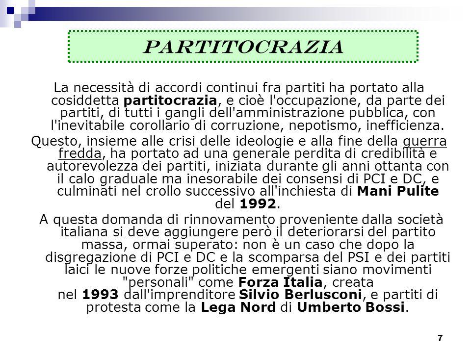 8 PARTITI DEGLI ANNI 90 Dall evoluzione del neofascista Movimento Sociale Italiano - Destra Nazionale nasce Alleanza Nazionale.
