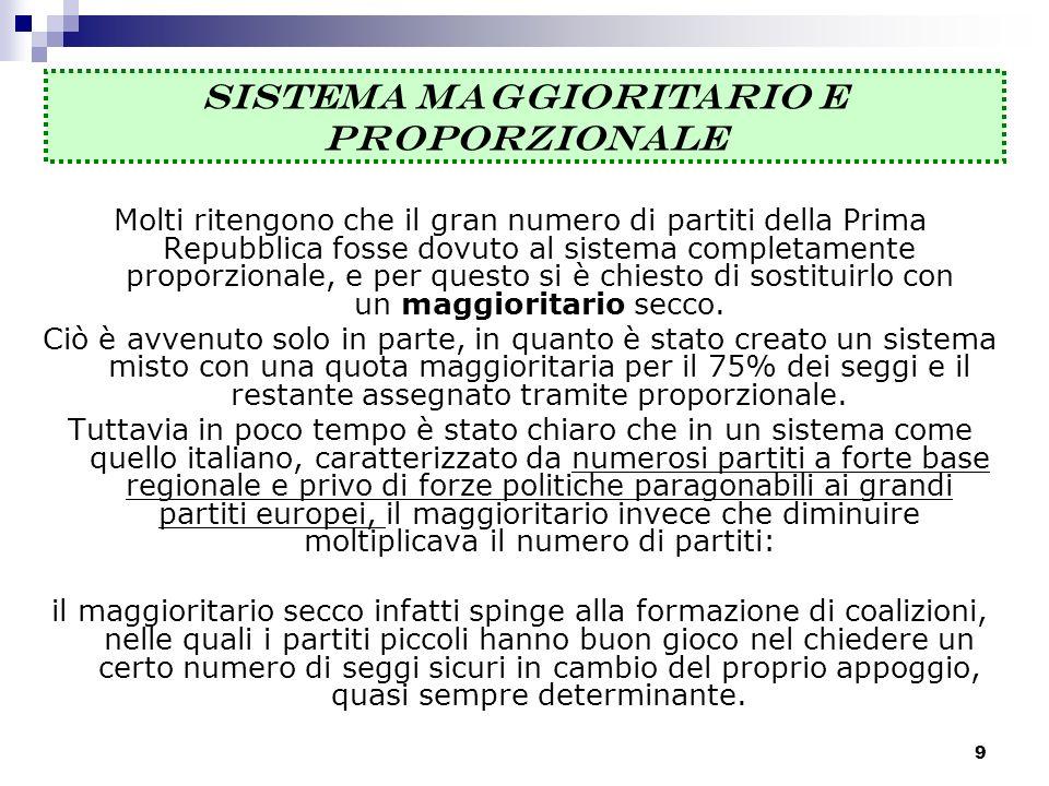 9 Molti ritengono che il gran numero di partiti della Prima Repubblica fosse dovuto al sistema completamente proporzionale, e per questo si è chiesto