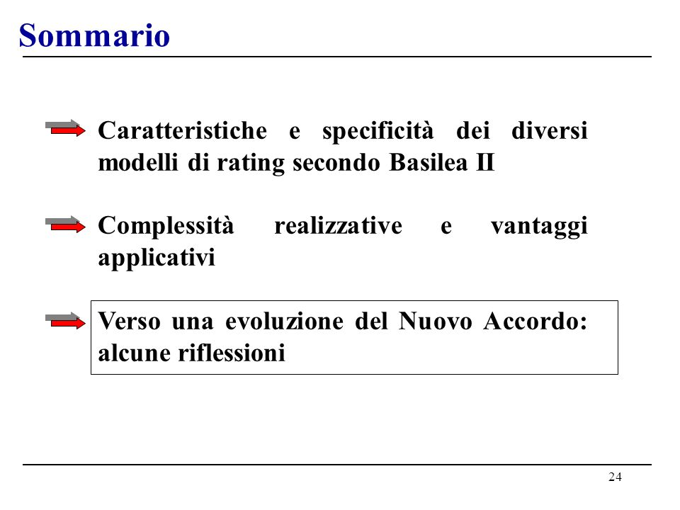 24 Sommario Caratteristiche e specificità dei diversi modelli di rating secondo Basilea II Complessità realizzative e vantaggi applicativi Verso una e