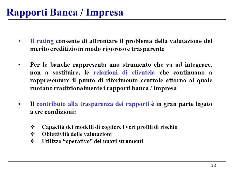 28 Rapporti Banca / Impresa Il rating consente di affrontare il problema della valutazione del merito creditizio in modo rigoroso e trasparente Per le