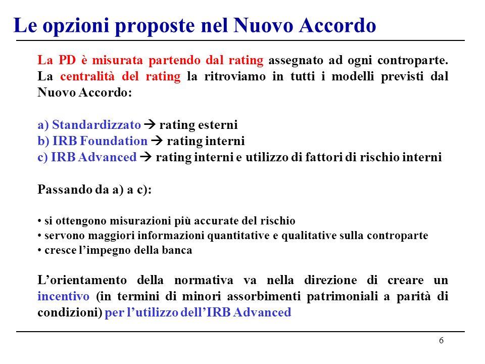 6 Le opzioni proposte nel Nuovo Accordo La PD è misurata partendo dal rating assegnato ad ogni controparte. La centralità del rating la ritroviamo in