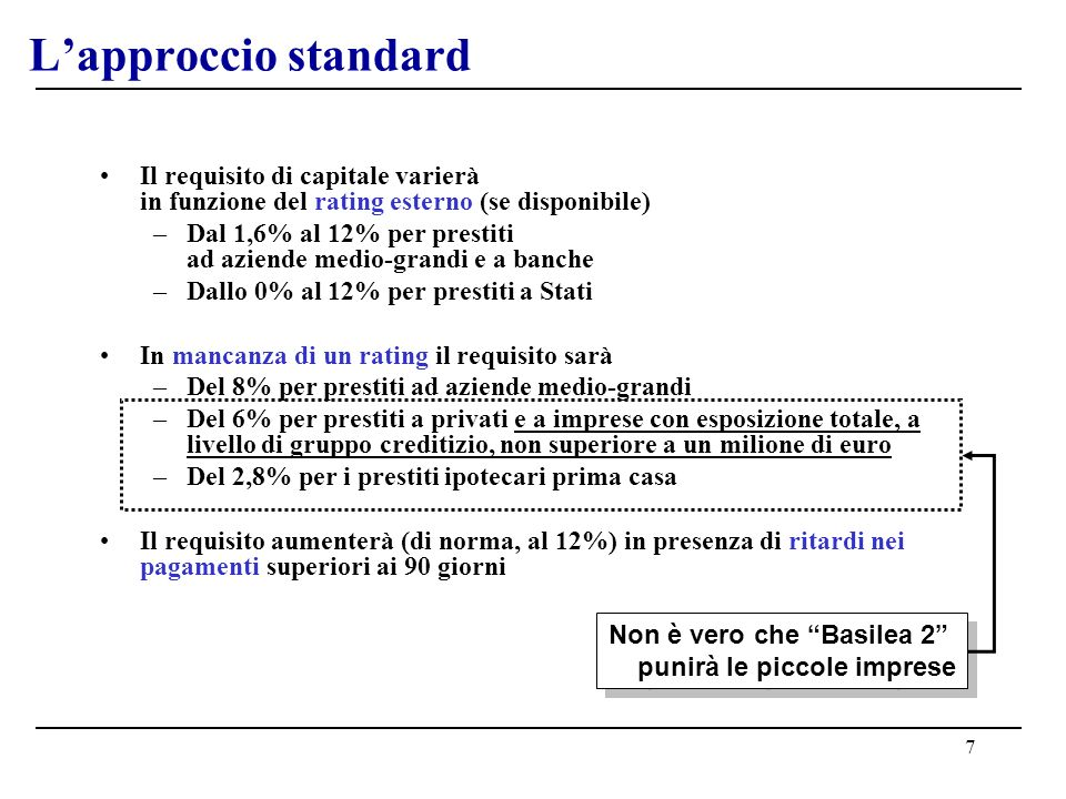 7 Lapproccio standard Il requisito di capitale varierà in funzione del rating esterno (se disponibile) –Dal 1,6% al 12% per prestiti ad aziende medio-grandi e a banche –Dallo 0% al 12% per prestiti a Stati In mancanza di un rating il requisito sarà –Del 8% per prestiti ad aziende medio-grandi –Del 6% per prestiti a privati e a imprese con esposizione totale, a livello di gruppo creditizio, non superiore a un milione di euro –Del 2,8% per i prestiti ipotecari prima casa Il requisito aumenterà (di norma, al 12%) in presenza di ritardi nei pagamenti superiori ai 90 giorni Non è vero che Basilea 2 punirà le piccole imprese