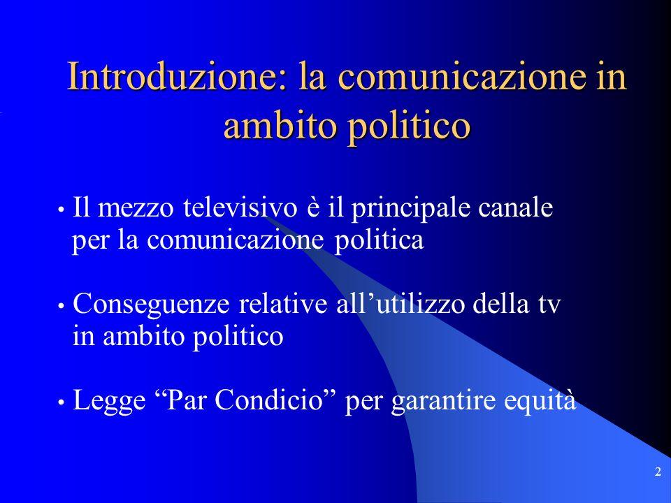 2 Il mezzo televisivo è il principale canale per la comunicazione politica Conseguenze relative allutilizzo della tv in ambito politico Legge Par Condicio per garantire equità Introduzione: la comunicazione in ambito politico