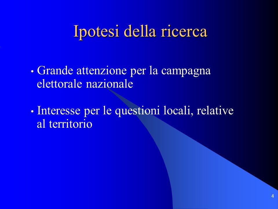 4 Grande attenzione per la campagna elettorale nazionale Interesse per le questioni locali, relative al territorio Ipotesi della ricerca