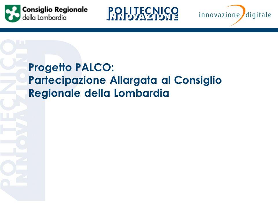 Progetto PALCO: Partecipazione Allargata al Consiglio Regionale della Lombardia