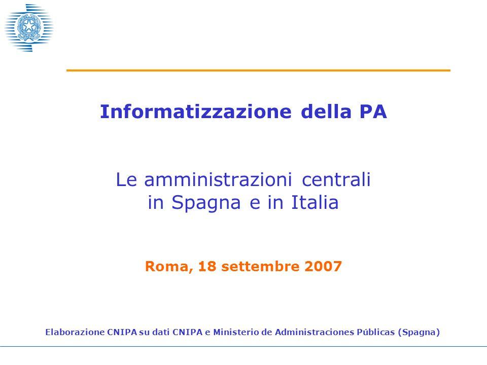 Informatizzazione della PA Le amministrazioni centrali in Spagna e in Italia Roma, 18 settembre 2007 Elaborazione CNIPA su dati CNIPA e Ministerio de Administraciones Públicas (Spagna)