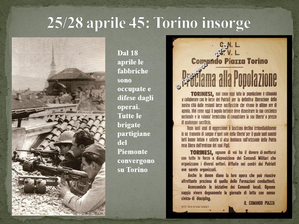 Dal 18 aprile le fabbriche sono occupate e difese dagli operai. Tutte le brigate partigiane del Piemonte convergono su Torino