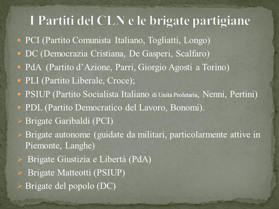 PCI (Partito Comunista Italiano, Togliatti, Longo) DC (Democrazia Cristiana, De Gasperi, Scalfaro) PdA (Partito dAzione, Parri, Giorgio Agosti a Torin