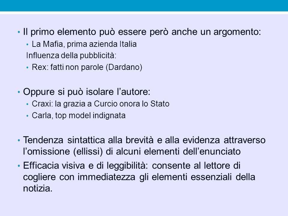 Il primo elemento può essere però anche un argomento: La Mafia, prima azienda Italia Influenza della pubblicità: Rex: fatti non parole (Dardano) Oppure si può isolare lautore: Craxi: la grazia a Curcio onora lo Stato Carla, top model indignata Tendenza sintattica alla brevità e alla evidenza attraverso lomissione (ellissi) di alcuni elementi dellenunciato Efficacia visiva e di leggibilità: consente al lettore di cogliere con immediatezza gli elementi essenziali della notizia.