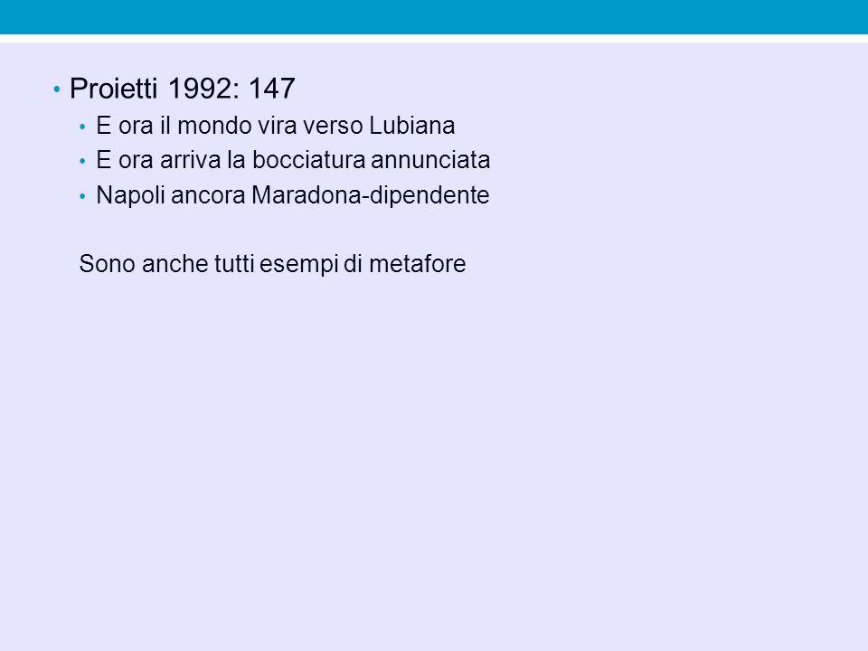 Proietti 1992: 147 E ora il mondo vira verso Lubiana E ora arriva la bocciatura annunciata Napoli ancora Maradona-dipendente Sono anche tutti esempi di metafore