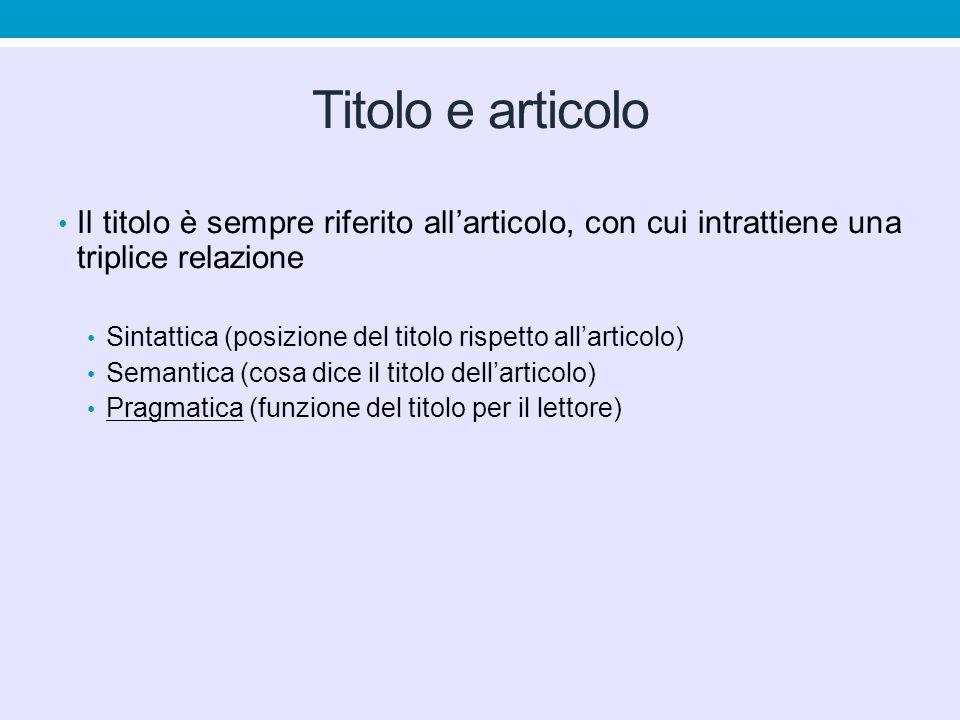 Titolo e articolo Il titolo è sempre riferito allarticolo, con cui intrattiene una triplice relazione Sintattica (posizione del titolo rispetto allarticolo) Semantica (cosa dice il titolo dellarticolo) Pragmatica (funzione del titolo per il lettore)