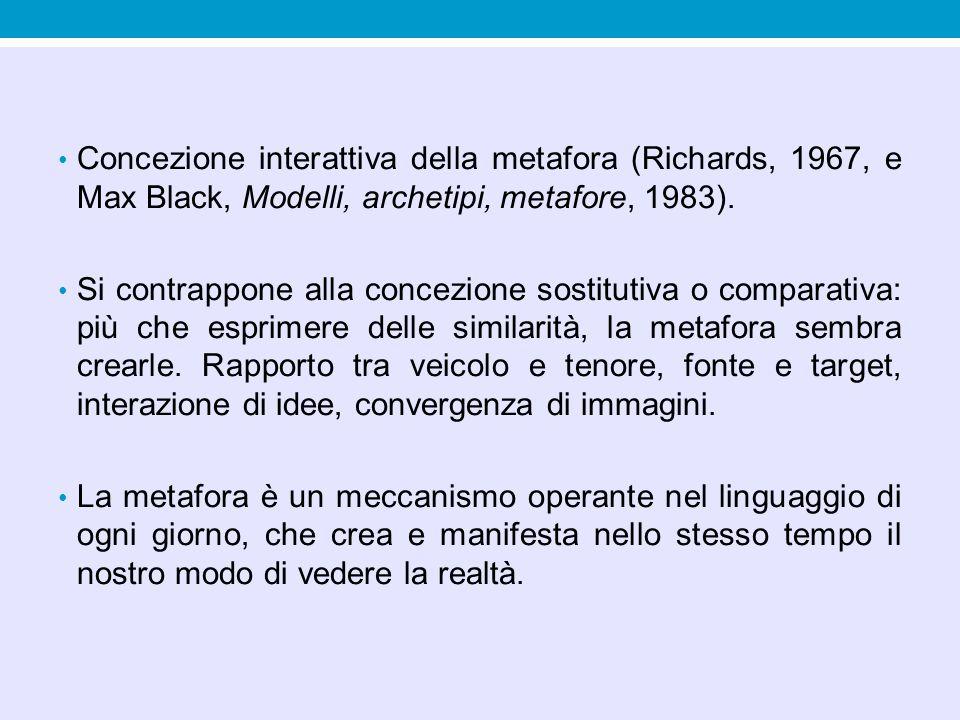 Concezione interattiva della metafora (Richards, 1967, e Max Black, Modelli, archetipi, metafore, 1983).