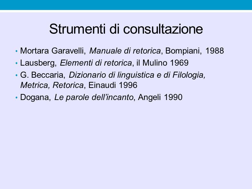 Strumenti di consultazione Mortara Garavelli, Manuale di retorica, Bompiani, 1988 Lausberg, Elementi di retorica, il Mulino 1969 G.