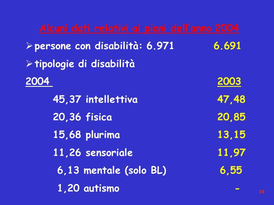 18 Alcuni dati relativi ai piani dellanno 2004 persone con disabilità: 6.971 6.691 tipologie di disabilità 20042003 45,37 intellettiva47,48 20,36 fisica20,85 15,68 plurima13,15 11,26 sensoriale11,97 6,13 mentale (solo BL) 6,55 1,20 autismo -