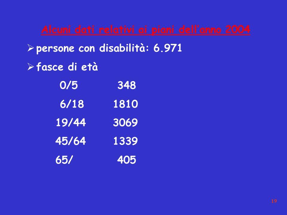 19 Alcuni dati relativi ai piani dellanno 2004 persone con disabilità: 6.971 fasce di età 0/5 348 6/181810 19/443069 45/641339 65/ 405