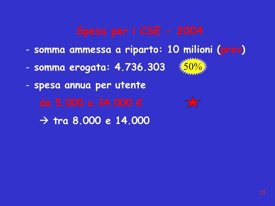 23 Spesa per i CSE - 2004 - somma ammessa a riparto: 10 milioni (prev) - somma erogata: 4.736.303 - spesa annua per utente da 5.000 a 34.000 tra 8.000 e 14.000 50%