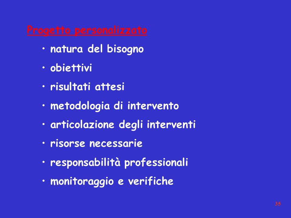 35 Progetto personalizzato natura del bisogno obiettivi risultati attesi metodologia di intervento articolazione degli interventi risorse necessarie responsabilità professionali monitoraggio e verifiche