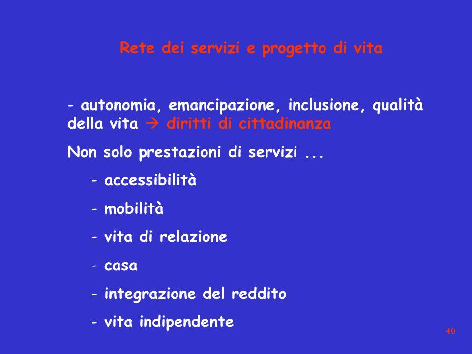 40 Rete dei servizi e progetto di vita - autonomia, emancipazione, inclusione, qualità della vita diritti di cittadinanza Non solo prestazioni di servizi...