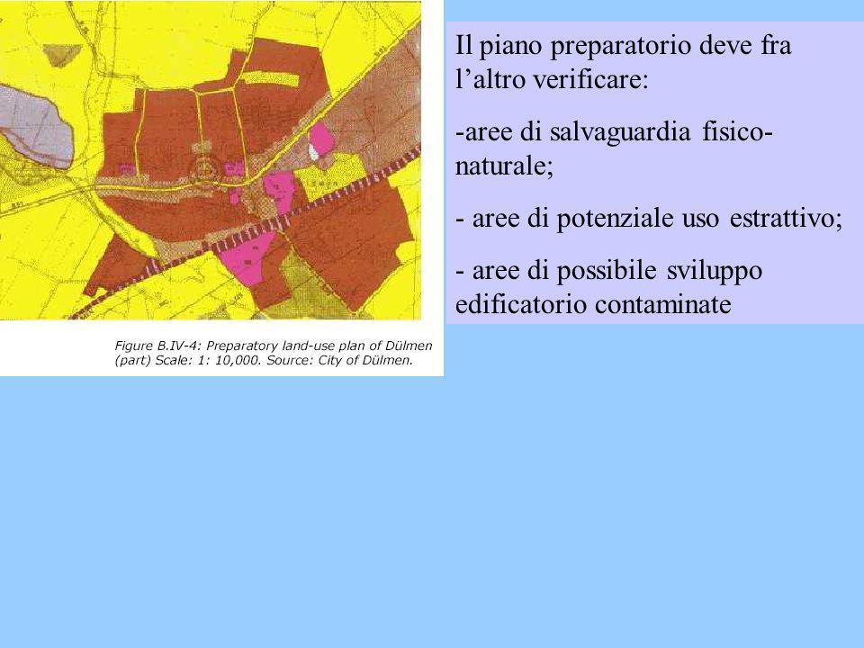 Il piano preparatorio deve fra laltro verificare: -aree di salvaguardia fisico- naturale; - aree di potenziale uso estrattivo; - aree di possibile svi