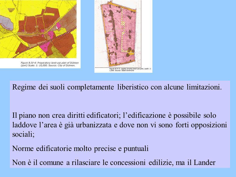 Regime dei suoli completamente liberistico con alcune limitazioni. Il piano non crea diritti edificatori; ledificazione è possibile solo laddove larea