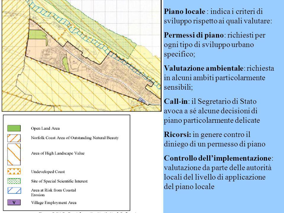 Piano locale : indica i criteri di sviluppo rispetto ai quali valutare: Permessi di piano: richiesti per ogni tipo di sviluppo urbano specifico; Valut